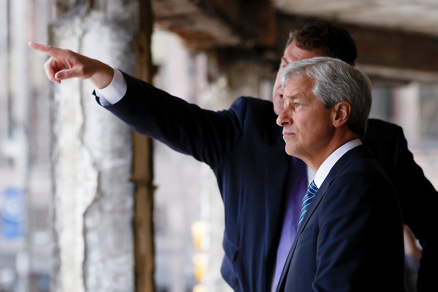JPMorgan Chase CEO Jamie Dimon is seen during his visit to Detroit on the one year anniversary of the firm's $100 million commitment to the city's revitalization, on Monday, May 18, 2015 in Detroit. (Photo by Rick Osentoski/Invision for JPMorgan Chase Co./AP Images) (Rick Osentoski/Invision for JPMorgan Chase & Co.)