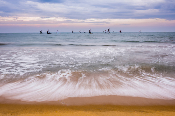 This is a photo of traditional Sri Lankan oruva fishing boats returning at sunrise to Negombo fishing market, seen from Negombo Beach, Sri Lanka, Asia.