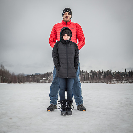 "Esteban Carles and Erika Urbina visiting Anchorage from Mexico.  ""We are here to view the northern lights…but we are freezing.""  ecarles@live.com (© Clark James Mishler)"