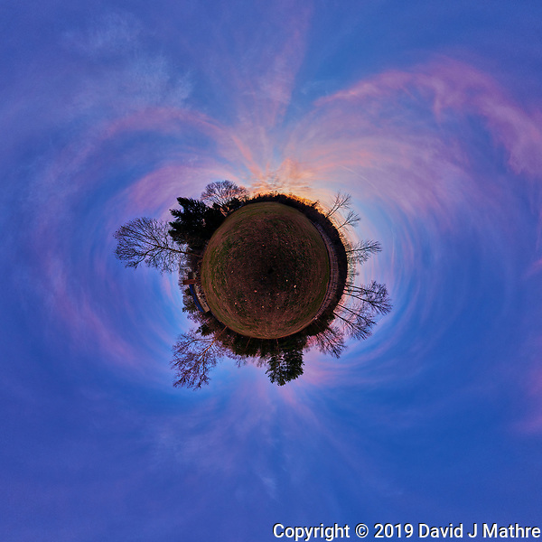 Autumn Dawn Clouds. Little Planet View. Composite of 41 mage taken with a Nikon D850 camera and 8-15 mm fisheye lens (ISO 100, 15 mm, f/5, 1/30 sec). Raw images processed with Capture One Pro and Autopano Giga Pro. (DAVID J MATHRE)
