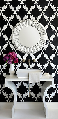 Tamara, a stone waterjet mosaic shown in Nero Marquina honed and Thassos polished, is part of the Silk Road Collection by Sara Baldwin for New Ravenna Mosaics. (Picasa)