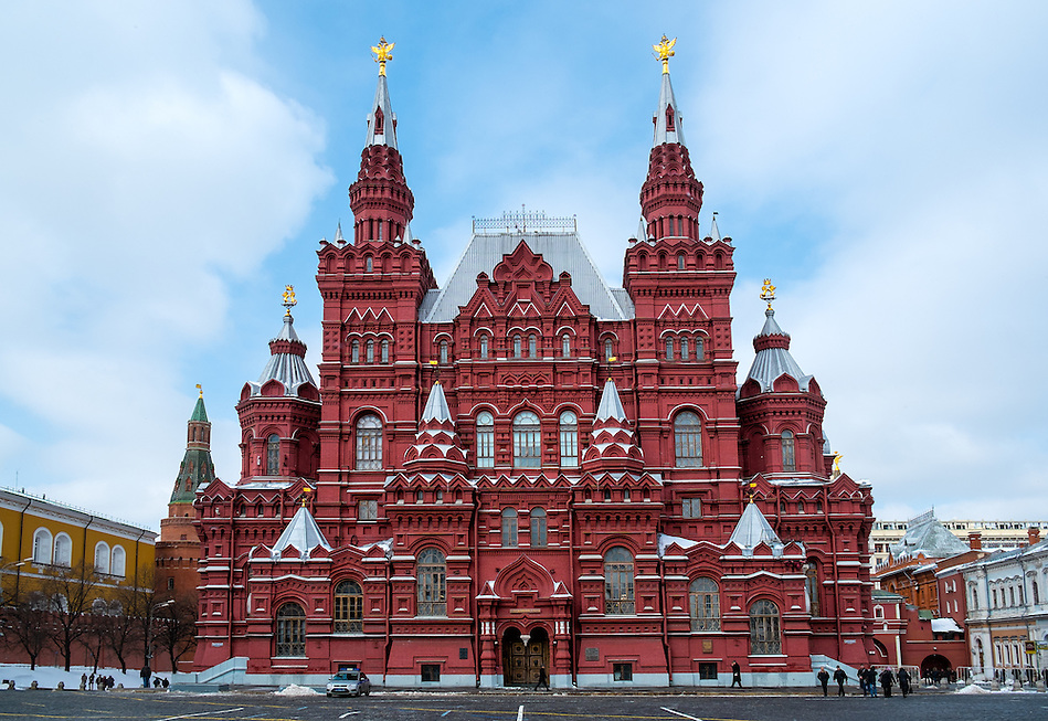 MOSCOW - CIRCA MARCH 2013: Facade of the State Historical Museum in Moscow, Circa 2013. With a population of more than 11 million people is one the largest cities in the world and a popular tourist destination. (Daniel Korzeniewski)