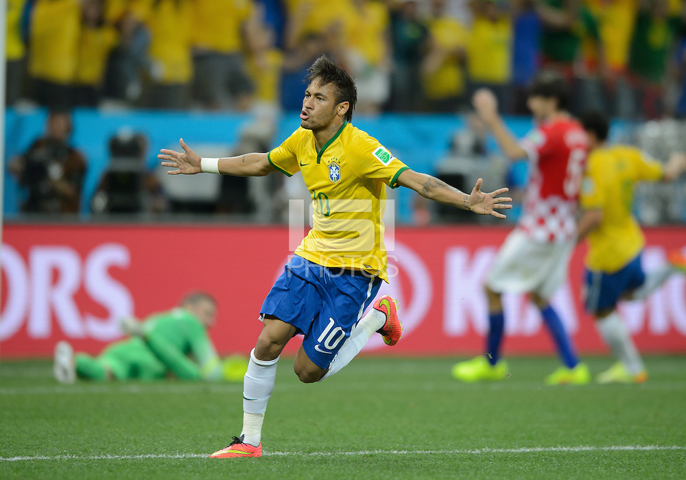 Sao Paulo, Brazil - Thursday, June 12, 2014: Opening match for the 2014 World Cup 2014 between Brazil and Croatia. Brazil won 3-1. Neymar celebrates his first goal. (John Todd/isiphotos.com)
