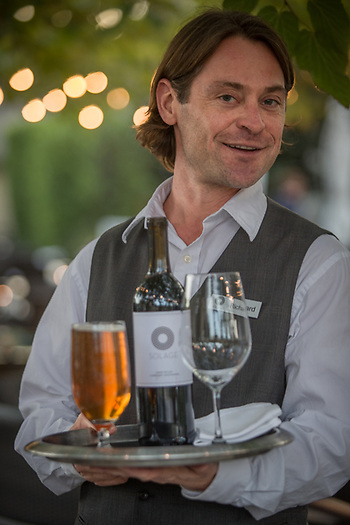 """I just arrived here from Hawaii... eventually, I would like to be a real estate broker.""  -Rich Littlefield, Server at Solage, Calistoga richlittlefield@hotmail.com (© Clark James Mishler)"