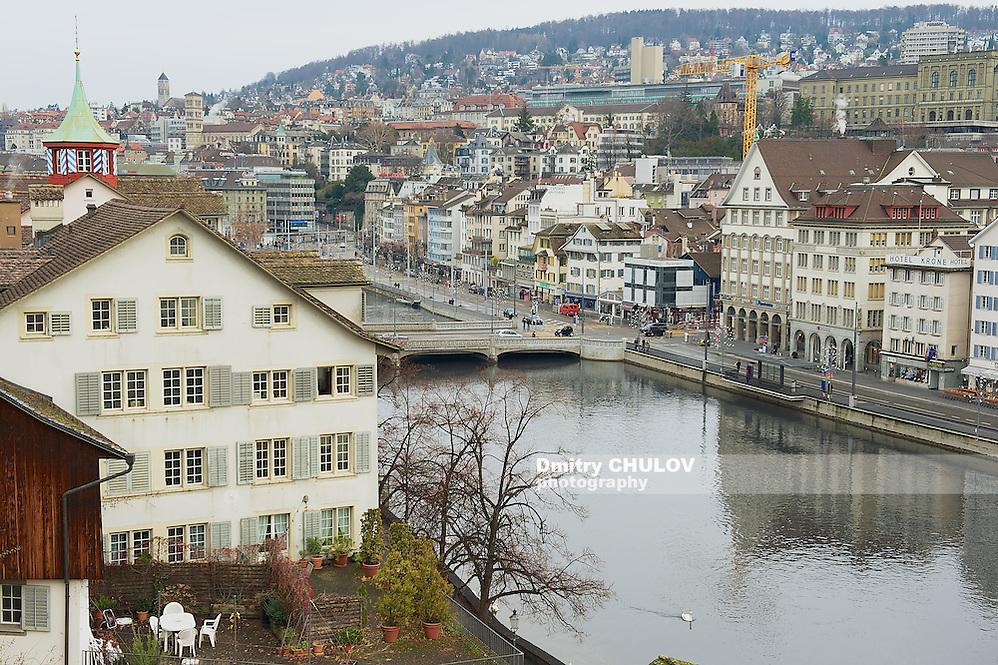 ZURICH, SWITZERLAND - DECEMBER 06, 2009: Exterior of the downtown Zurich buildings in Zurich, Switzerland. (Dmitry Chulov)