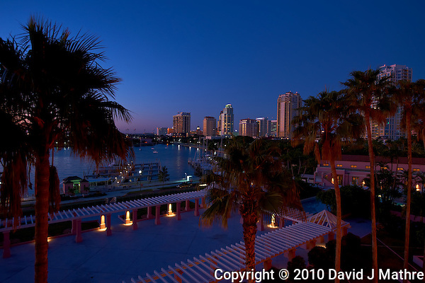Downtown St. Petersburg at Dawn from the Vinoy Hotel. Image taken with an Nikon D3x and 16-36 mm f/4 lens (ISO 100, 22 mm, f/5.6, 0.5 sec). (David J Mathre)