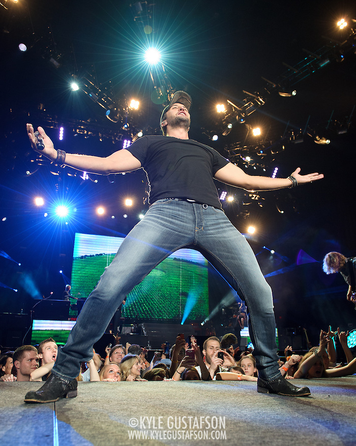 BRISTOW, VA - May 18th  2013 -  Luke Bryan performs at Jiffy Lube Live in Bristow, VA as part of the 2013 WMZQ Fest. Bryan released his latest album, Spring Break?Here to Party, in March. The album is a compilation of songs from Bryan's first four spring break-themed EPs, plus two new songs. (Photo by Kyle Gustafson/For The Washington Post) (Kyle Gustafson/For The Washington Post)