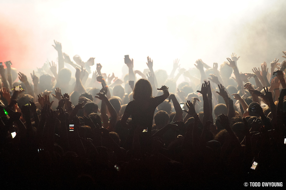 Skrillex performing at The Rave in Milwaukee, Wisconsin on January 1, 2012. (Todd Owyoung)