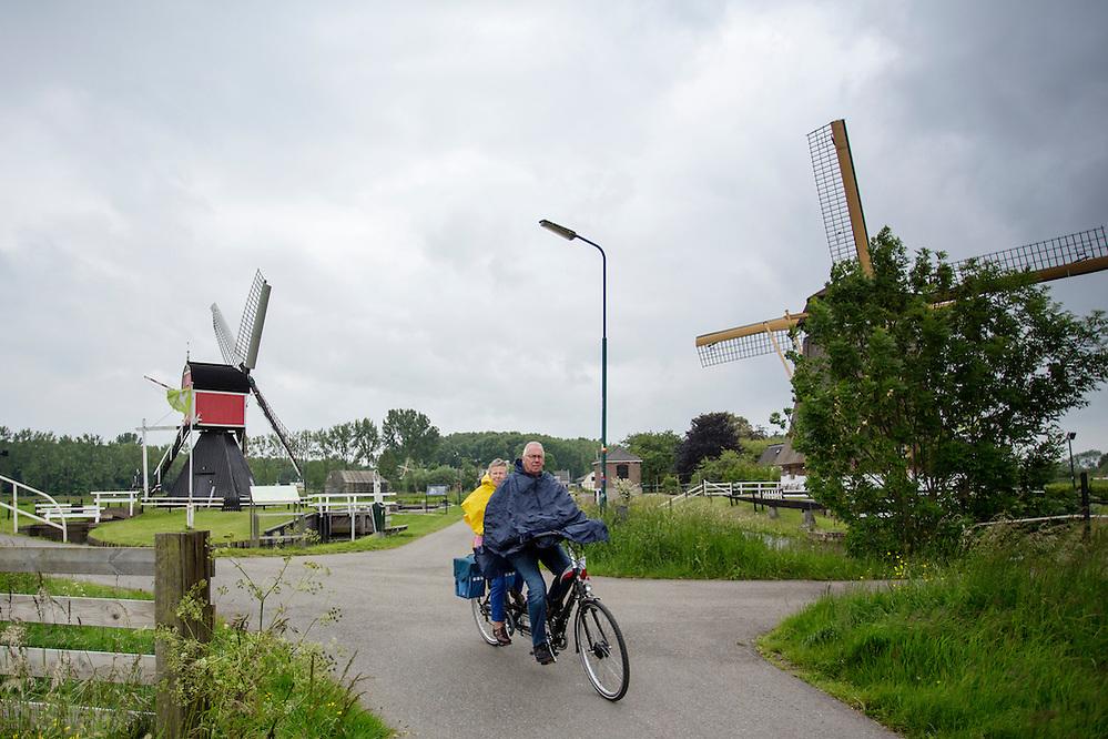 Een stel rijdt op een elektrische tandem in de regen voorbij de twee poldermolens bij Oud-Zuilen.