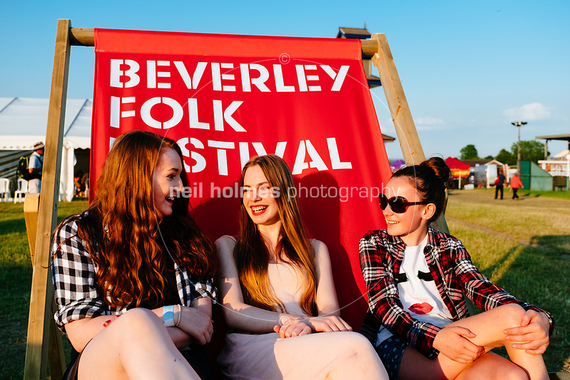 Beverley Racecourse, Beverley, East Yorkshire, United Kingdom, 18 June, 2017. Pictured: Festival Deck Chair, Beverley Folk Festival (Neil Holmes)