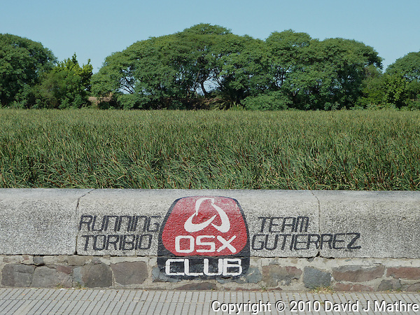 OSX Club sign along Laguna de los Coipos in Buenos Aries. Images taken with a Leica V-Lux 20 camera (ISO 80, 11.9 mm, f/5.6, 1/400 sec) (David J Mathre)