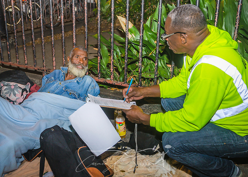 Homeless man and outreach worker in New Orleans Louisiana