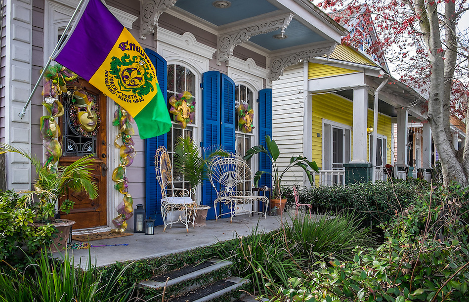 NEW ORLEANS - CIRCA FEBRUARY 2014: View of a typical house decorated with Mardi Gras accessories in Algiers Point, a popular community within the city of New Orleans in Louisiana. (Daniel Korzeniewski)