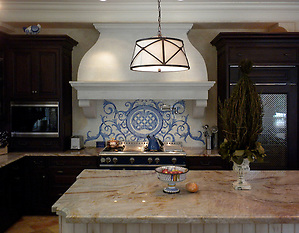 Custom Acanthus kitchen backsplash in Quartz, Lapis Lazuli, Blue Spinel, Mica Jewel Glass (New Ravenna Mosaics)