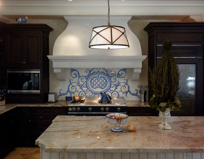 Custom Acanthus kitchen backsplash in Quartz, Lapis Lazuli, Blue Spinel, Mica Jewel Glass (New Ravenna Mosaics 2010)