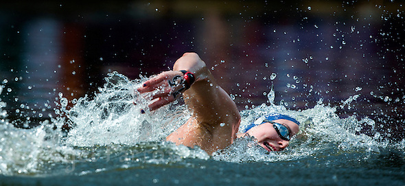 09 AUG 2012 - LONDON, GBR - Keri-Anne Payne (GBR) of Great Britain leads the London 2012 Olympic Games women's 10km Marathon Swimming in Hyde Park, London, Great Britain .(PHOTO (C) 2012 NIGEL FARROW) (NIGEL FARROW/(C) 2012 NIGEL FARROW)