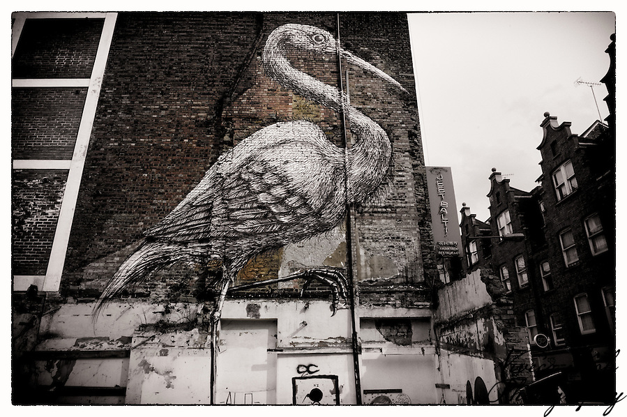 Big bird by artist Roa on a building wall, Shoreditch, East London (Viveca Koh)