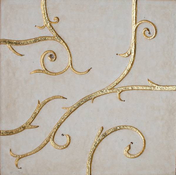GIovanni Barbieri Flamboyant Collection Beige limestone etched finish with gold  leaf and gold Swarovski crystal (New Ravenna Mosaics)