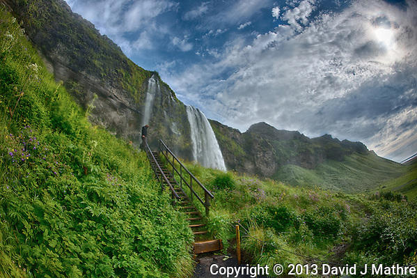 Starway to Seljalandsfoss, a Waterfall in Southern Iceland. HDR composite of 7 images taken with a Nikon D800 and 16 mm f/2.8 fisheye lens (ISO 100, 16 mm, f/16) using Google HDR Efex Pro 2. Nikonians Academy Photo Adventure (David J Mathre)