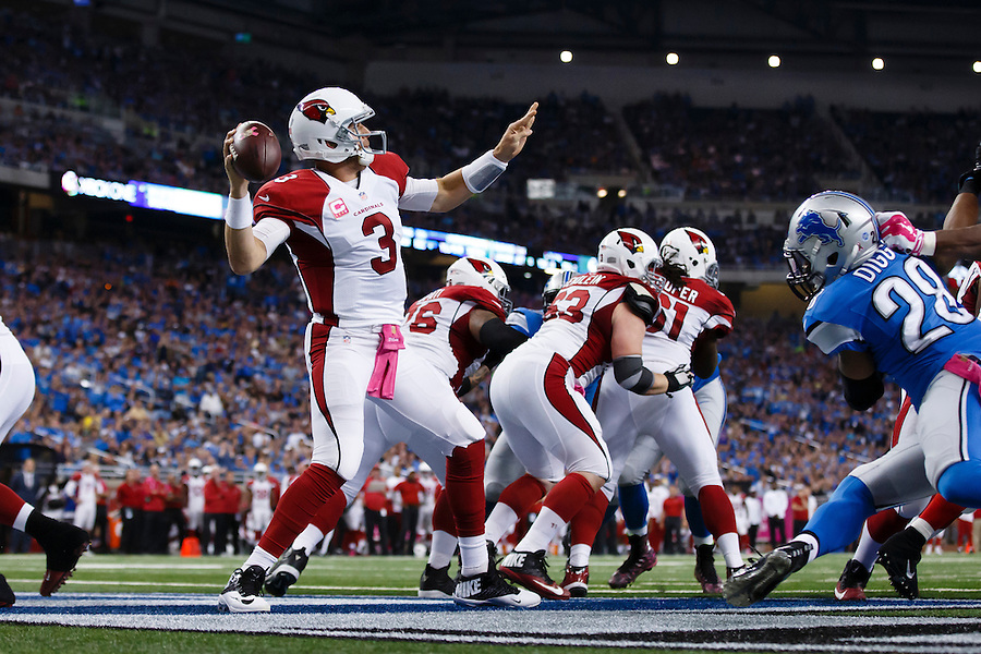 Arizona Cardinals quarterback Carson Palmer (3) passes against the Detroit Lions during an NFL football game at Ford Field in Detroit, Sunday, Oct. 11, 2015. (AP Photo/Rick Osentoski) (Rick Osentoski/AP)
