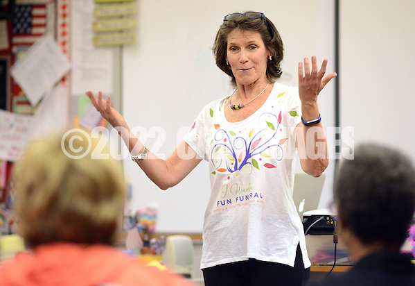 Kyle Tevlin speaks with her class on how to start fun funeral planning Wednesday, October 19, 2016 at Keith Valley Middle School in Horsham, Pennsylvania. Devlin runs a Devon-based, personal-planning business that finds creative ways to hold funerals and memorials at places that meant something to the deceased, whether that's a beach or a bar. (WILLIAM THOMAS CAIN / For The Philadelphia Inquirer) (William Thomas Cain/Cain Images)
