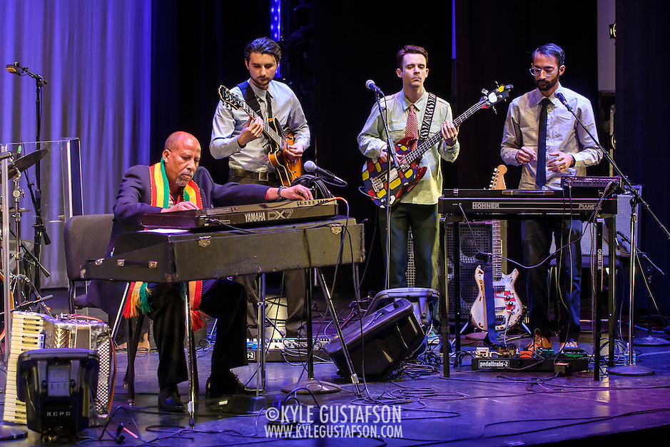 WASHINGTON, DC - February 11th, 2014 - Hailu Mergia (left) performs on the Millennium Stage at the Kennedy Center. Mergia, a star of Ethiopian music in the 1970s as a member of the Walias Band, now drives a cab in Washington, D.C. (Photo by Kyle Gustafson / For The Washington Post) (Kyle Gustafson/For The Washington Post)