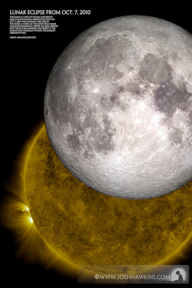 This image is a view of the sun captured by NASA's Solar DynamicsObservatory (SDO) on Oct. 7, 2010, while partially obscured by themoon. A model of the moon from NASA's Lunar Reconnaissance Orbiter has been inserted into the picture, showing how perfectly the moon's true topology fits into the shadow observed by SDO. Credit: NASA/SDO/LRO/GSFC (Josh Hawkins)