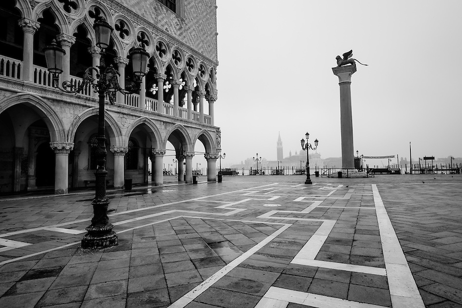 VENICE, ITALY - CIRCA MAY 2015:  Piazza San Marco and Doge's Palace with San Giorgio Maggiore behind. (Daniel Korzeniewski)