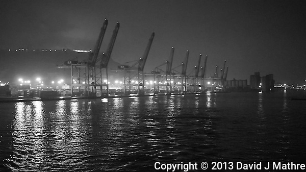 Port of Barcelona Container Shipping Dock at Night. Image taken with a Nikon 1 V2 and 18.5 mm f/1.8 lens (ISO 2500, 18.5 mm, f/1.8, 1/60 sec). Semester at Sea Spring 2013 Enrichment Voyage/ (David J Mathre)