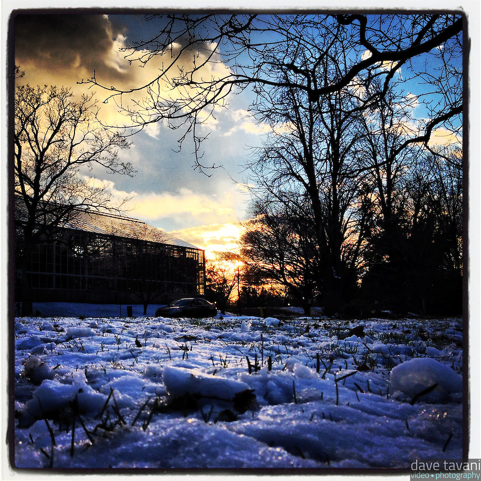 The sun fades over the Horticultural Center in Fairmount Park December 30, 2012. (Dave Tavani)
