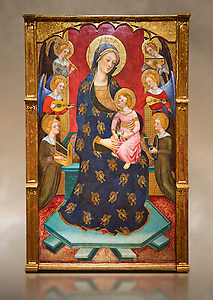Gothic painted Panel Virgin of the Angels by Pere Serra. Tempera and gold leaf on wood. Circa 1385. 195.8 x 131 x 11 cm. Comes from Tortosa cathedral (Baix Ebre).  This splendid central panel and the two sections of the predella with saints (which must once have flanked a tabernacle) are all that remains of an altarpiece. It was dedicated to the Virgin Mary and was painted for one of the chapels in the ambulatory of Tortosa cathedral, probably towards the 1380s. The compartment with the Virgin and Child surrounded by angels playing music is a very graceful and refined version of an iconographic type that was extremely popular at the time. Pere Serra, author of the altarpiece, came from a family of painters who grew to head the Catalan painting of the second half of the fourteenth century. National Museum of Catalan Art, Barcelona, Spain, inv no: 003950-000 (Paul E Williams)
