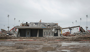Workers continue the demolition of Delmar-Tusa Fieldhouse, January 27, 2014. (Houston ISD/Dave Einsel)