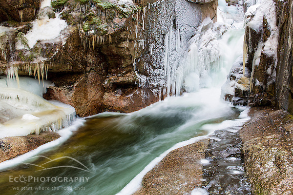 Ice and Sabbaday Falls in New Hampshire's White Mountains. (Jerry and Marcy Monkman)