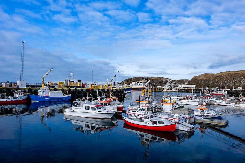 STYKKISHOLMUR, ICELAND - CIRCA MARCH 2015: Port of Stykkisholmur in the Snaefellsness Peninsula, West Iceland. (Daniel Korzeniewski)