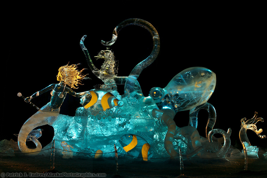 Friend or Foe, by Steve Brice, Joan Brice, Heather Brown, Tajana Raukar 1st place Multi Block, 2003 World Ice Art Championships, Fairbanks Alaska. (Patrick J. Endres / AlaskaPhotoGraphics.com)