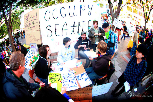 Occupy Seattle at Westlake Park 10-8-2011 ((c)2011 Elisa Sherman)