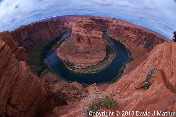 Horseshoe Bend, Arizona. Image taken with a Nikon D4 and 16 mm f/2.8 fisheye lens (ISO 100, 16 mm, f/11, 1/200 sec). Camera mounted on a monopod held out over the cliff. Nikonians ANPAT-13 on a day that the National Parks were closed. (David J Mathre)