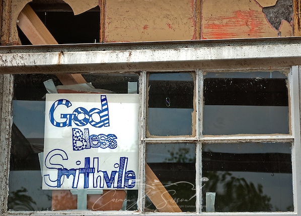 A sign taped to the window of the old post office greets passersby with a message of faith on May 1, 2011 in Smithville, Miss. Sixteen people died in the town during the April 27, 2011 EF5 tornado, part of a storm system that swept across six states in the South, killing 342 people and injuring thousands. (Photo by Carmen K. Sisson/Cloudybright) (Carmen K. Sisson/Cloudybright)