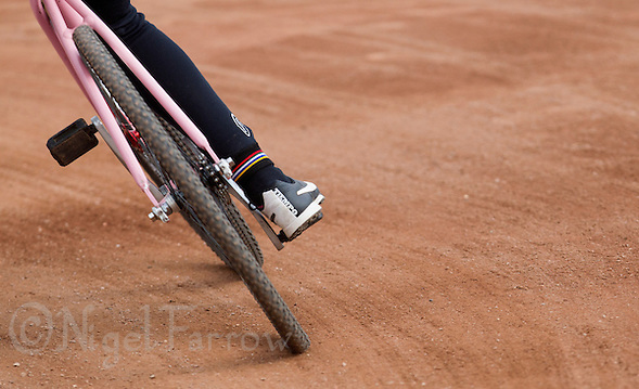 13 SEP 2014 - IPSWICH, GBR - A competitor takes a bend during a heat of the 2014 British Women's Club Cycle Speedway Championships at Whitton Sports & Community Centre in Ipswich, Great Britain (PHOTO COPYRIGHT © 2014 NIGEL FARROW, ALL RIGHTS RESERVED) (NIGEL FARROW/COPYRIGHT © 2014 NIGEL FARROW : www.nigelfarrow.com)