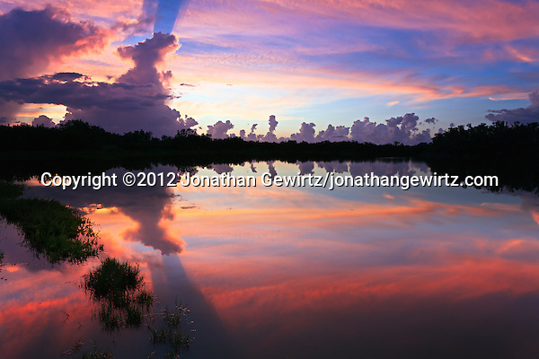 The colorful red skies of a rainy-season sunset reflect off the surface of Eco Pond in the Flamingo section of Everglades National Park, Florida. (©2012 Jonathan Gewirtz/jonathangewirtz.com)
