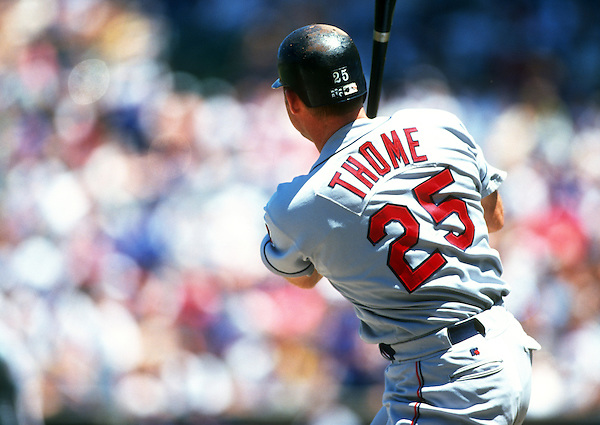 OAKLAND - 1998: Jim Thome #25 of the Cleveland Indians bats during an MLB game against the Oakland Athletics at he Oakland-Alameda County Colosseum. Thome played for the Indians from 1991-2002. (Photo by Ron Vesely) (Ron Vesely)