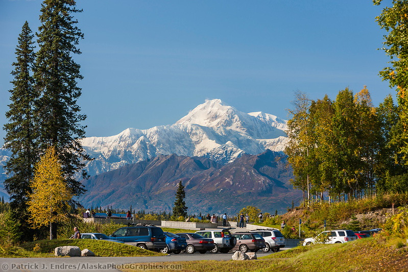 Tourists view Mt. Denali from viewpoint along the George Parks Highway. (Patrick J. Endres / AlaskaPhotoGraphics.com)