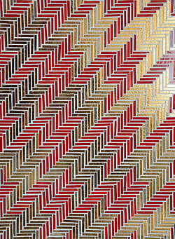 Houndstooth A Hand Cut Jewel Glass Mosaic Shown In Ruby And Gold Is
