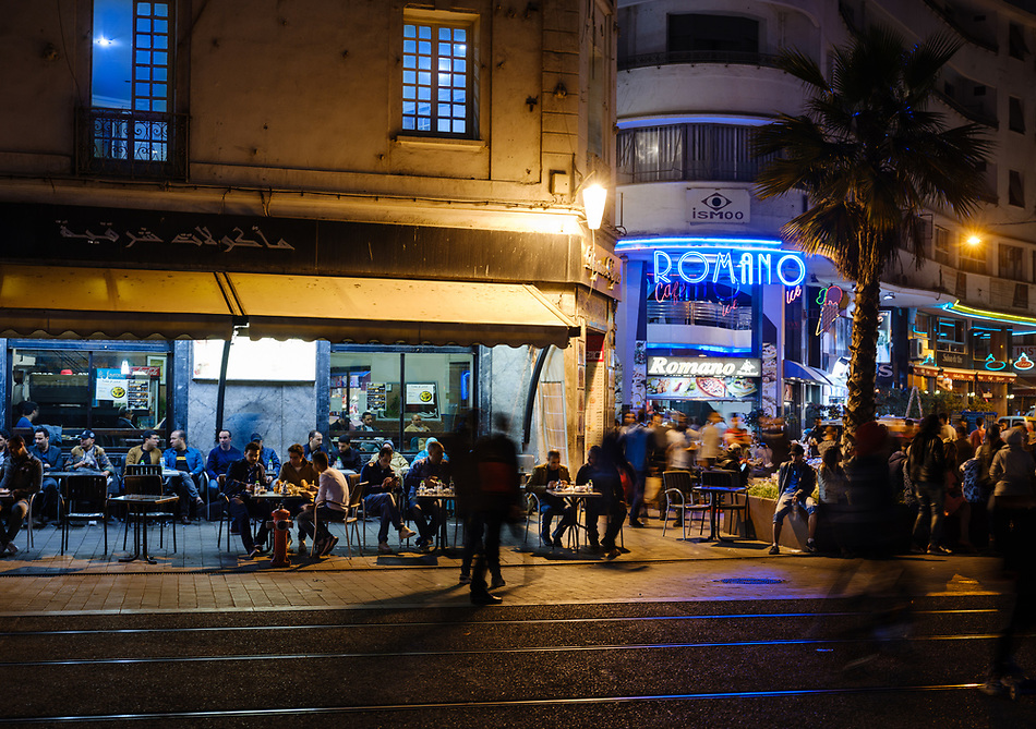 CASABLANCA, MOROCCO - CIRCA APRIL 2017: People in Boulevard Mohammed V  in Casablanca at night. (Daniel Korzeniewski)