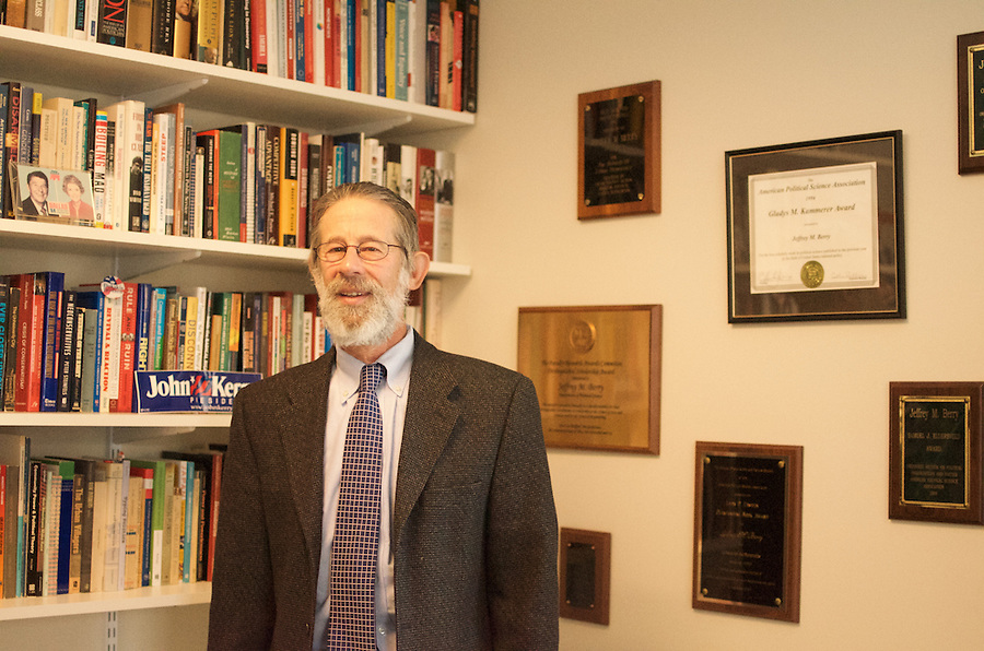 2/10/16 – Medford/Somerville, MA – Jeffrey Berry, professor of the political ccience department, poses for a portrait in his office in Packard Hall on February 10th, 2016. (Jiaxun Li / The Tufts Daily) (Jiaxun Li)