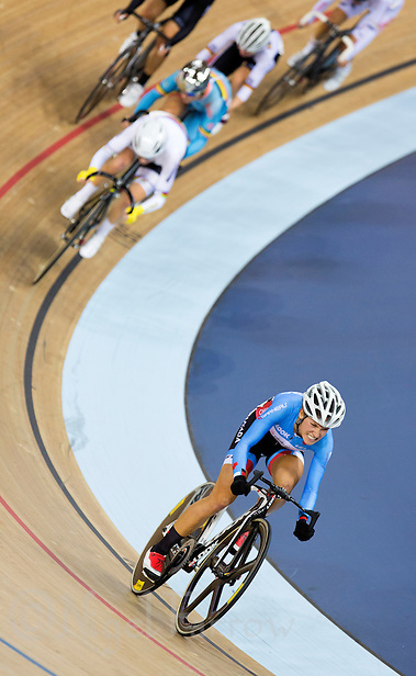 06 DEC 2014 - STRATFORD, LONDON, GBR - Jasmin Glaesser (CAN) (right) racing for Canada breaks away from the pack during the women's Points Race at the 2014 UCI Track Cycling World Cup round in the Lee Valley Velo Park in Stratford, London, Great Britain (PHOTO COPYRIGHT © 2014 NIGEL FARROW, ALL RIGHTS RESERVED) (NIGEL FARROW/COPYRIGHT © 2014 NIGEL FARROW : www.nigelfarrow.com)