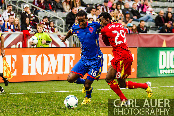 April 6th, 2013 - Colorado Rapids midfielder Atiba Harris (16) attempts to get past Real Salt Lake defender Abdoulie Mansally (29) in the first half of the MLS match between Real Salt Lake and the Colorado Rapids at Dick's Sporting Goods Park in Commerce City, CO (Carl Auer/Newsport)
