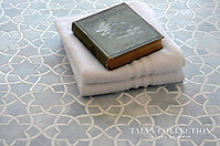 Isidore, a stone waterjet mosaic shown in Allure honed and Snow White polished, is part of the Talya Collection by Sara Baldwin for Marble Systems. (Sara Baldwin)