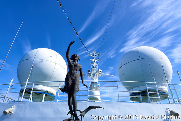 Bronze statue of a woman and seagull leading the MV World Odyssey while crossing the Pacific Ocean. Semester at Sea, 2016 Spring Semester Voyage. Day 3 of 102. Image taken with a Leica T camera and 11-23 mm lens (ISO 100, 14 mm, f/14, 1/125 sec). (David J Mathre)