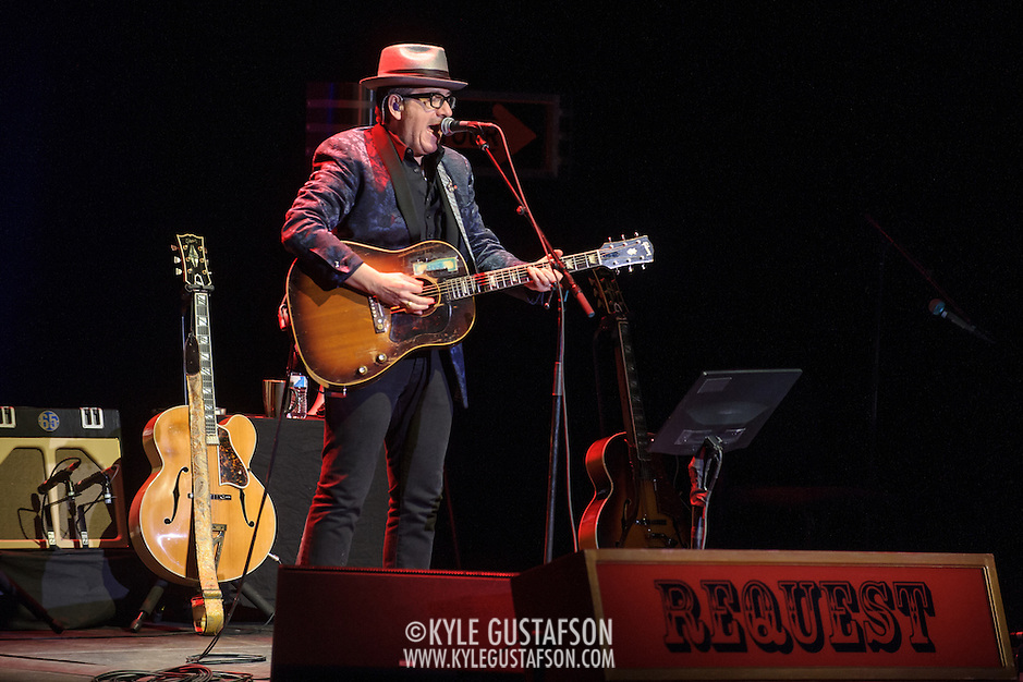 WASHINGTON, DC - November 22nd, 2013 - Elvis Costello performs at Lisner Auditorium on the George Washington University campus. Costello performed solo for over two hours, playing more than 25 songs for a sold out crowd. (Photo by Kyle Gustafson / For The Washington Post) (Kyle Gustafson/For The Washington Post)